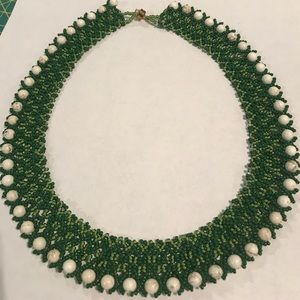 Green RBG style beaded necklace
